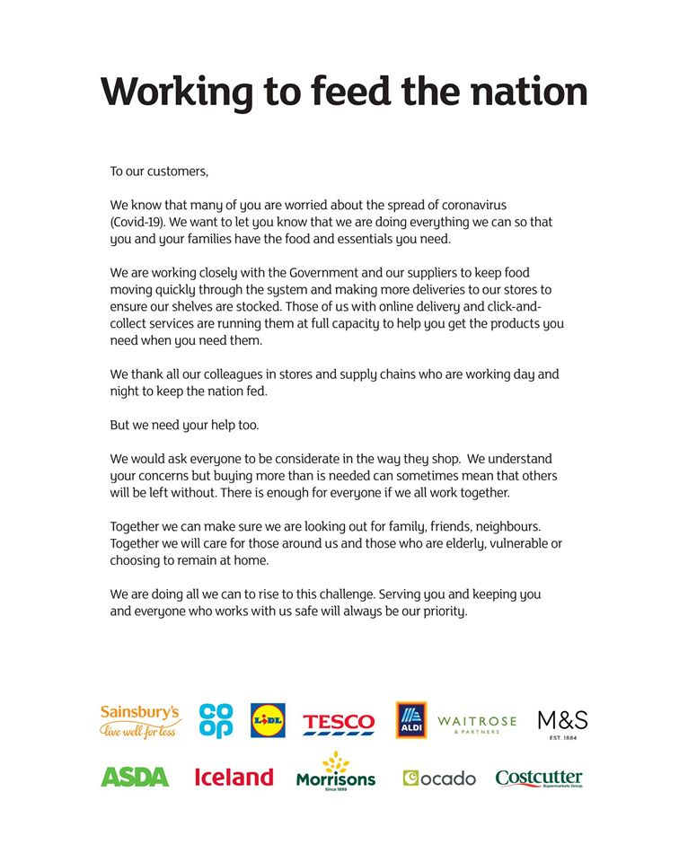 covid-19 letter from major supermarkets