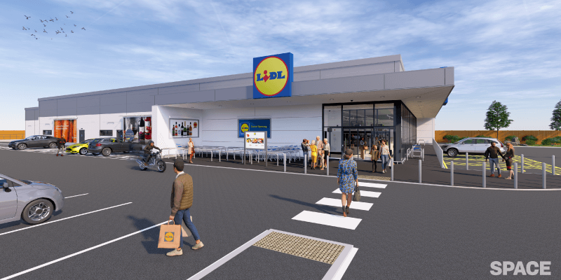 artist's impression of proposed Lidl Bellshill site